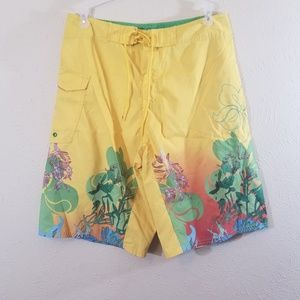 Reef Vibrant Yellow Swim Trunk Board Shorts Men 33